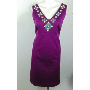 Boden Sheath Dress Purple Beaded Neckline Midi